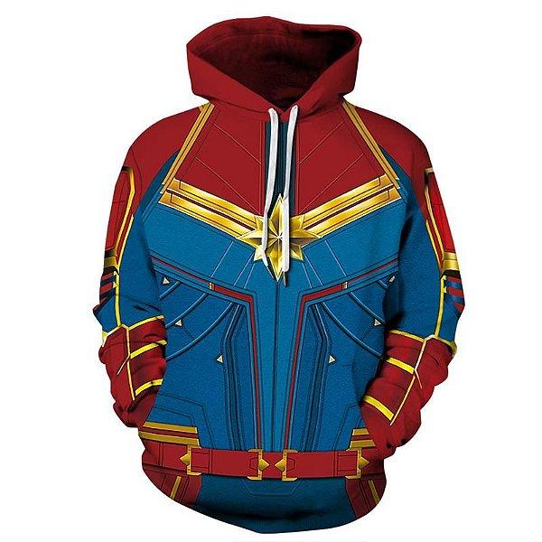 Blusa Moletom Canguru Full 3d Vingadores Capitã Marvel