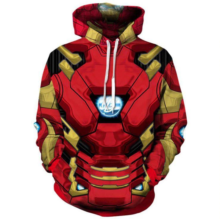 Blusa Moletom Canguru Full 3d Vingadores Homem De Ferro
