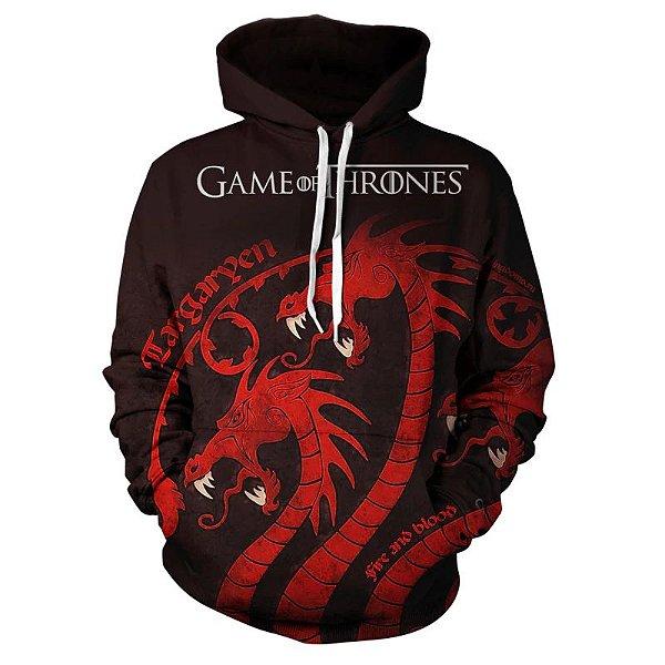 Blusa Moletom Canguru Full 3d Game of Thrones GoT Dragão