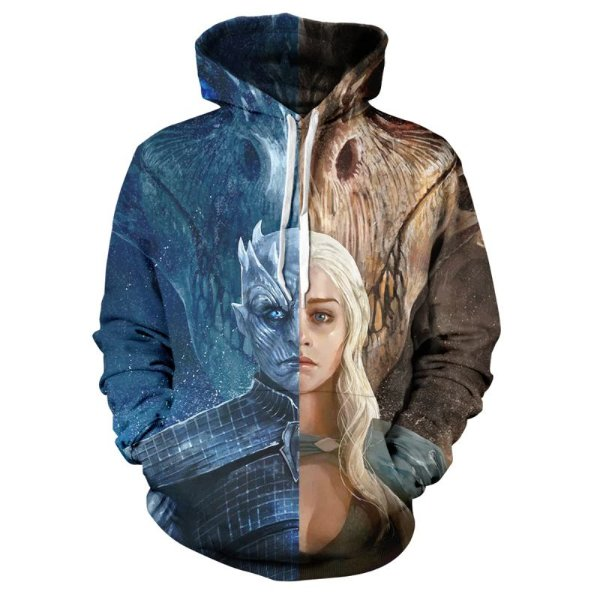Blusa Moletom Canguru Full 3d Game of Thrones Rei da Noite Daenerys