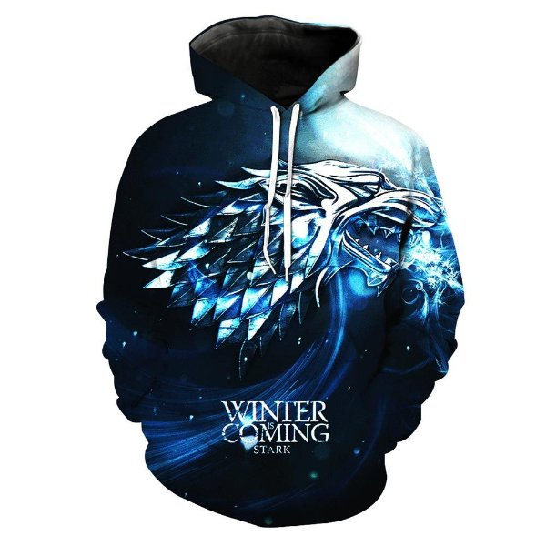 Blusa Moletom Canguru Full 3d Got Game Of Thrones Stark Winter Is Coming