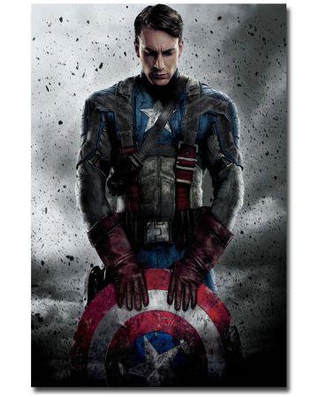 Painel Quadro 1 Tela Vingadores Avengers Capitão América 60x40cm