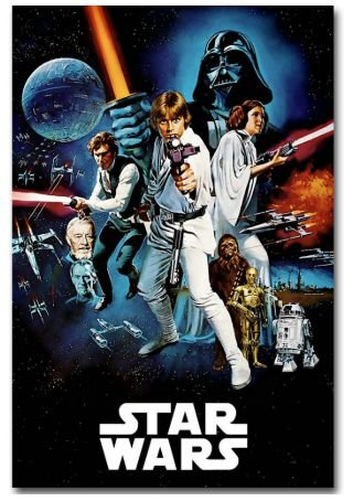 Painel Quadro 1 Tela Star Wars Filme Poster Movie Cinema 60x40xm
