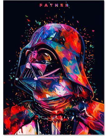 Painel Quadro 1 Tela Filme Star Wars Father Darth Vader 60x40cm