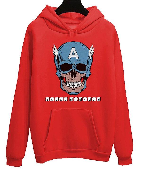 Blusa Moletom Canguru  Vingadores Avengers Filme Capitão America Skull