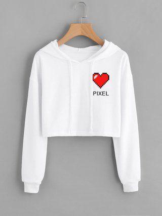 Moletom Cropped Feminino Love Pixel