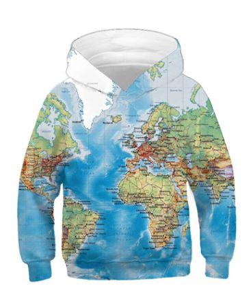 Blusa Moletom Infantil 3d Full Mapa Mundi