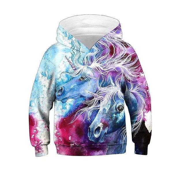 Blusa Moletom Infantil 3d Full Unicornio Colorido