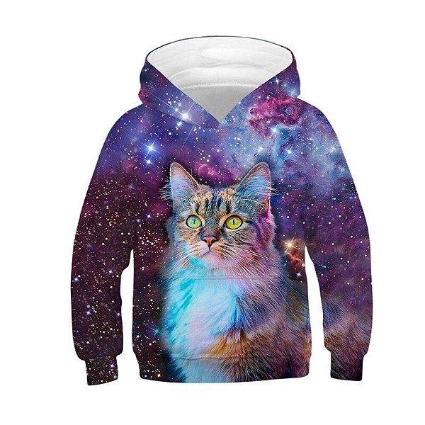 Blusa Moletom Infantil 3d Full Gato Galaxia Nebulosa