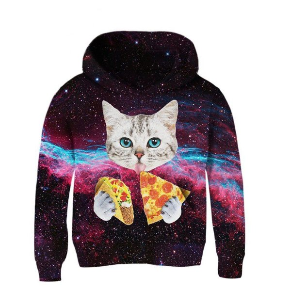 Blusa Moletom Infantil 3d Full Gato Pizza Taco Galaxia