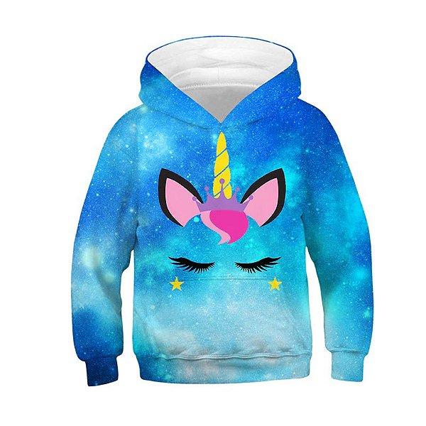 Blusa Moletom Infantil 3d Full Unicornio Galaxia Nebulosa