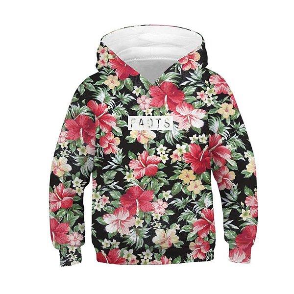 Blusa Moletom Infantil 3d Full Floral Flores Verão