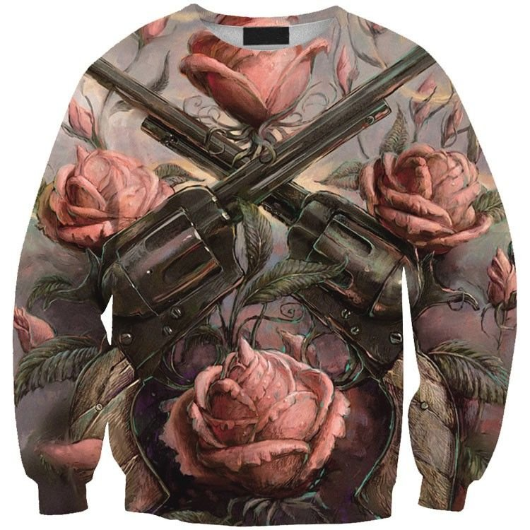 Blusa Moletom Careca 3d Full Gun Flowers