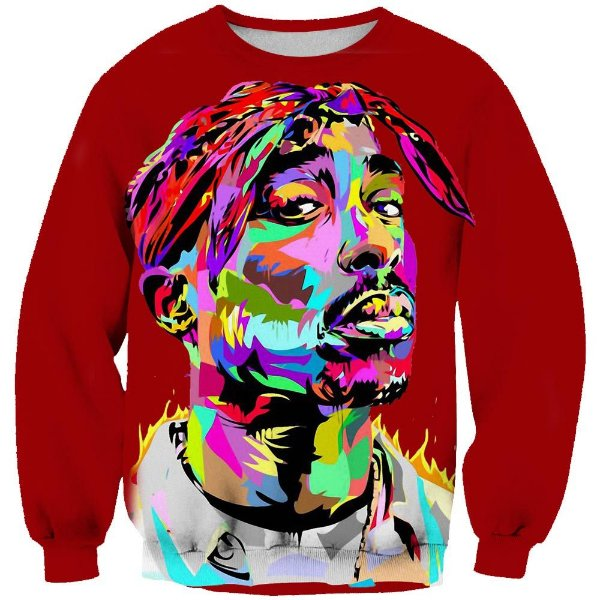 Blusa Moletom Careca 3d Full Rapper Tupac