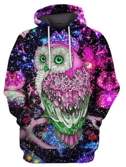 Blusa De Frio 3d Full Coruja Owl Nebulosa