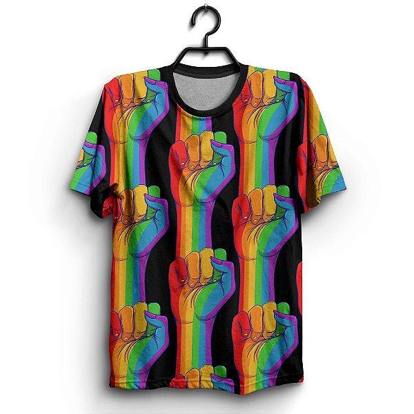 Camiseta 3d Full Orgulho Gay Lgbtq Luta Bandeira