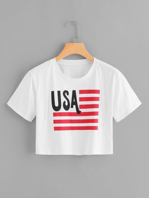 Camiseta Cropped Usa