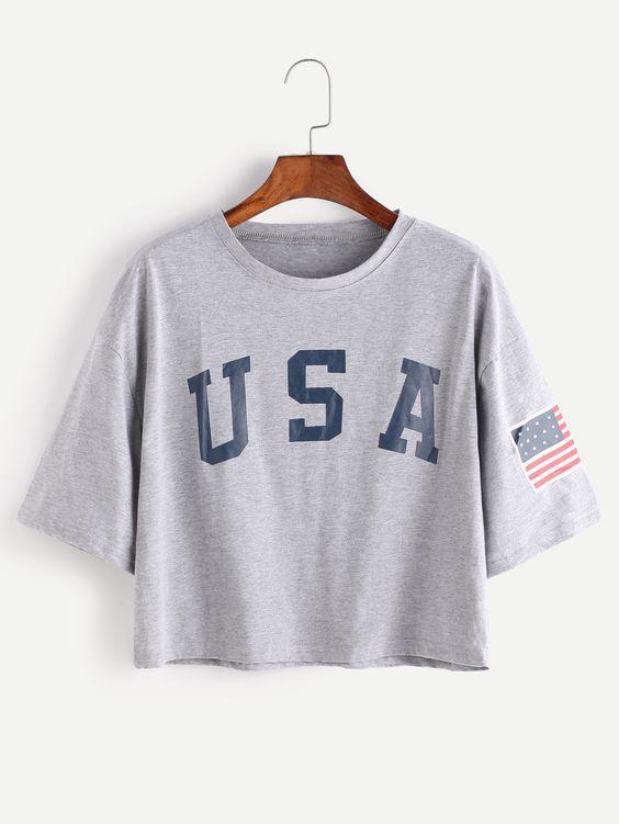 Camiseta Cropped Usa Bandeira