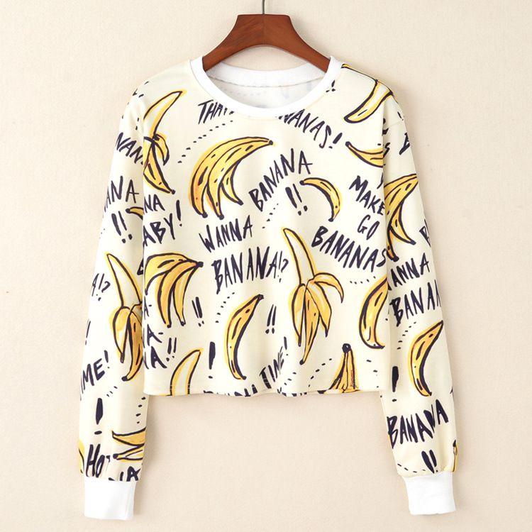 Moletom Cropped 3d Full Banana Fruta