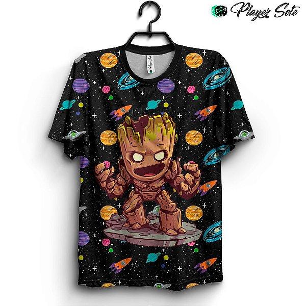 Camiseta 3d Full Groot Guardiões da Galaxia