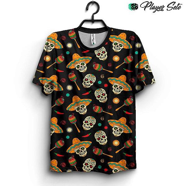 Camiseta 3d Full Caveira Mexicana
