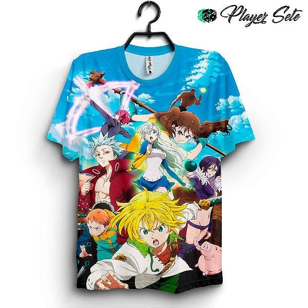Camiseta 3d Full Anime Nanatsu No Taizai Personagens