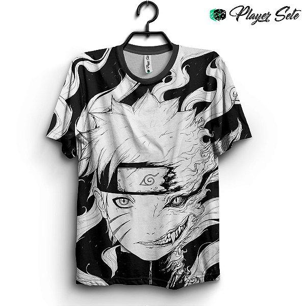 Camiseta 3d Full Anime Naruto Black White