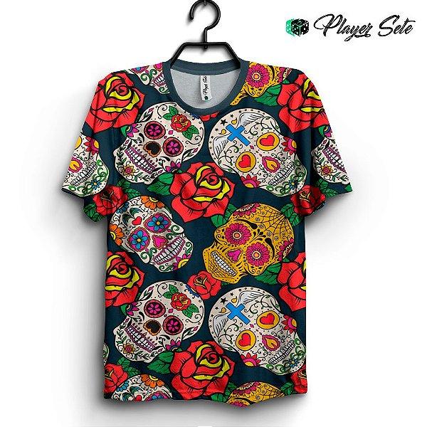 Camiseta 3d Full Caveira Mexicana Flower