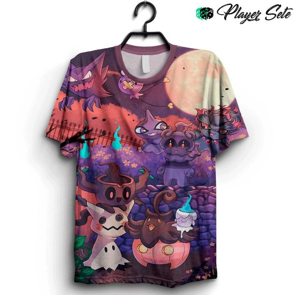 Camiseta 3D Full Halloween  Pokemon