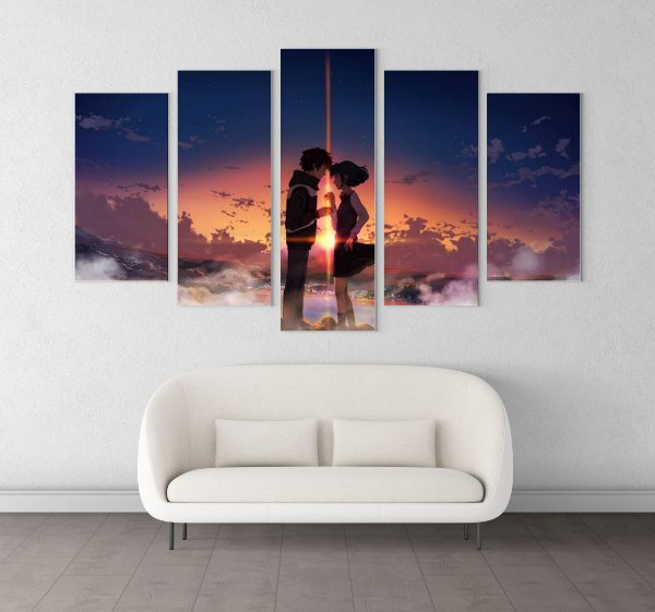Quadro 5 Telas Decorativo Anime Kimi no na wa (110x55 ou 160x90)