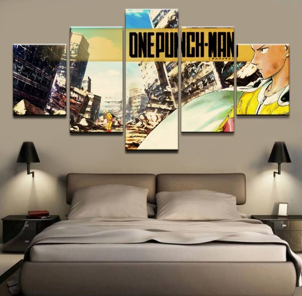 Quadro 5 Telas Decorativo Anime One Punch Man (110x55 ou 160x90)