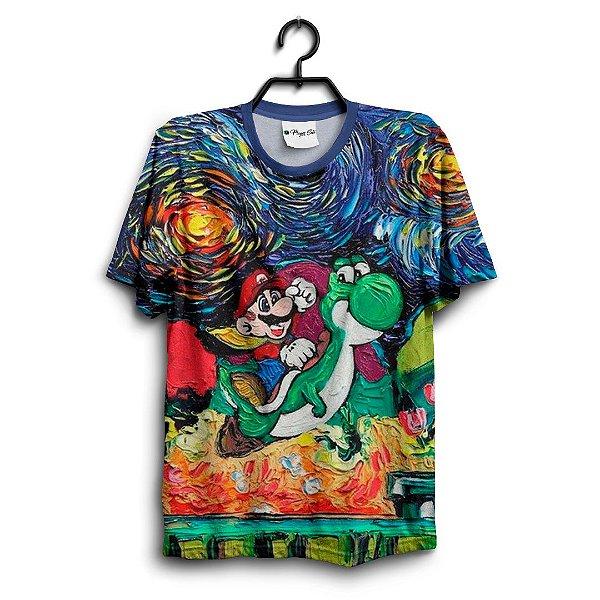 Camiseta 3D Full Jogo Mario A Noite Estrelada