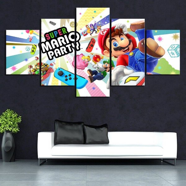 Quadro 5 Telas Decorativo Jogo Super Mario Party (110x55 ou 160x90)