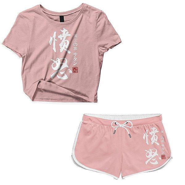Kit Conjunto Feminino Short + Camiseta Cropped Anime Nanatsu No Taizai