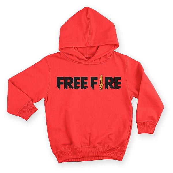 Moletom Com Capuz Infantil Jogo Free Fire Logo