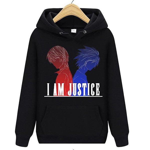 Blusa Moletom Canguru Anime Death Note I Am Justice