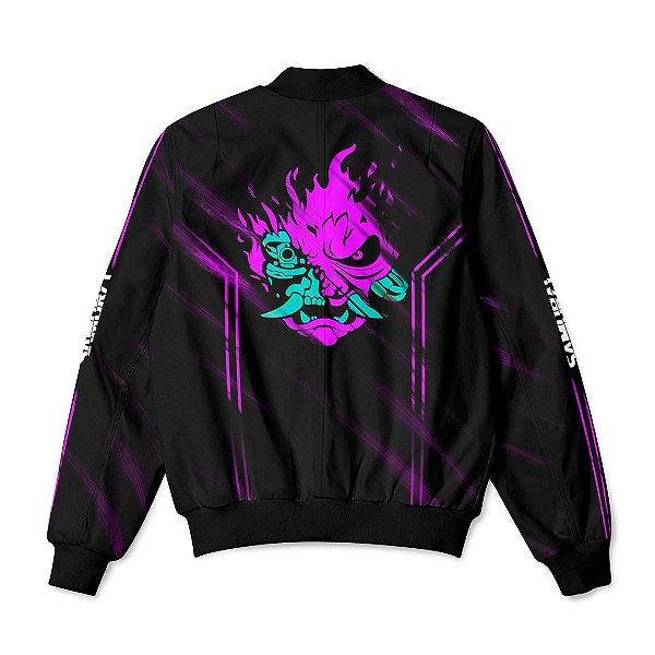 Jaqueta Bomber Com Bolsos Jogo Cyberpunk 2077 Samurai  Purple