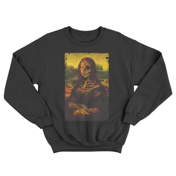 Moletom Gola Redonda Skull Mona Lisa Unissex