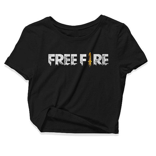 Camiseta Cropped Feminino Jogo Free Free Garena Mobile Logo