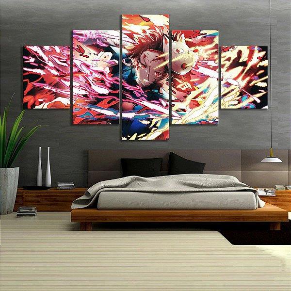Quadro 5 Telas Decorativo Anime Kimetsu no Yaiba Tanjiro (110x55 ou 160x90)