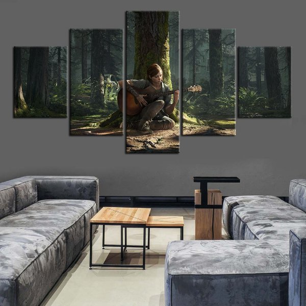 Quadro 5 Telas Decorativo Jogo The Last Of Us Part II Ellie (110x55 ou 160x90)