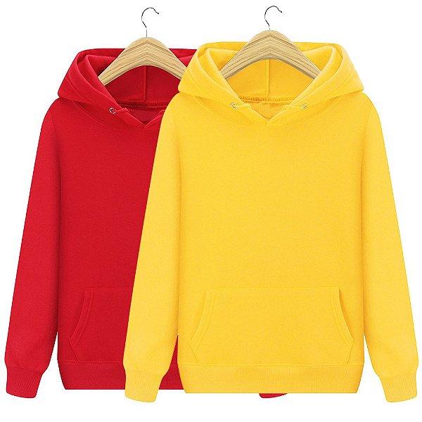 Kit 2 Moletons Com Capuz Unissex Vermelho E Amarelo