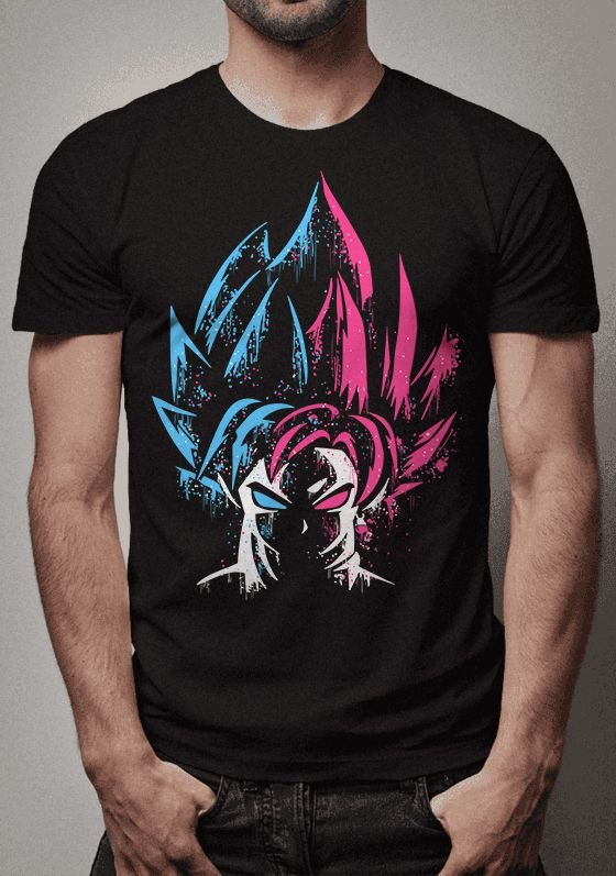 Camiseta Goku Half Blue Half Rose Dragon Ball Super