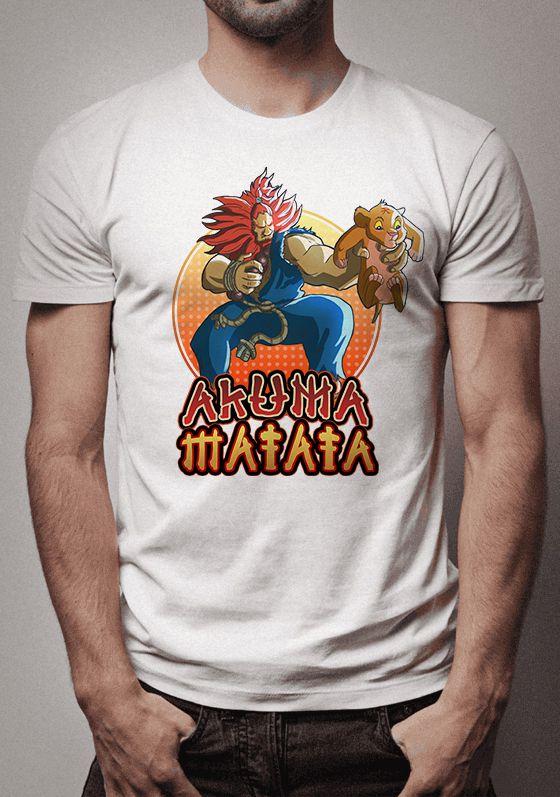 Camiseta Akuma Matata Crossover Street Fighter e Rei Leão