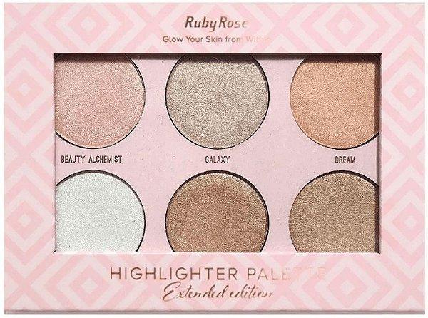 Paleta Sombra Iluminador Highlighter Ruby Rose Atacado Kit com 12 peças