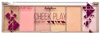 Paleta de sombra blush iluminador Pocket Cheek Play Ruby Rose