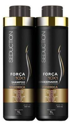 Kit Seduction 10X1 Força Shampoo + Condicionador Mandioca 1000ml