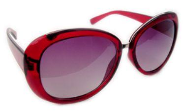 Óculos acetato vermelho redondo c/ lentes pretas