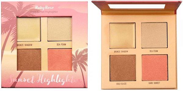Paleta Dark Sunset Highlighter Ruby Rose Atacado Kit com 12 peças
