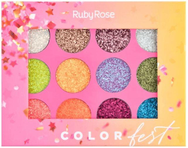 Paleta Glitter Color Fest Ruby Rose Atacado